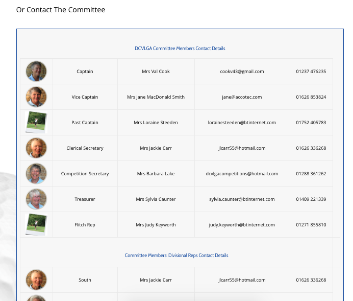 DCVLGA Website Contact Us committee details Section